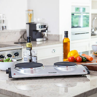Portable Electric Twin Hob 2500W Stainless Steel & 2 Cast Iron Dual Hot Plates