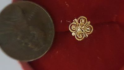 22k Solid Yellow Real Gold Nose Pin 4 Petals Pattern Set G8 latest style #EQWD6