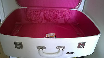 ❤ Airplane ❤ Vintage Cream Suitcase Wedding Bride Occassion Near Mint!