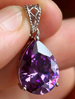 18K White Gold Filled - 12*16mm Waterdrop Amethyst Topaz Zircon Gems Big Pendant