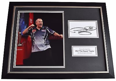 Phil The Power Taylor Signed FRAMED Photo Autograph 16x12 display Darts COA