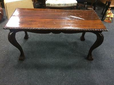 Vintage Retro Dark Stained Wooden Reproduction Carved Teak Coffee Table