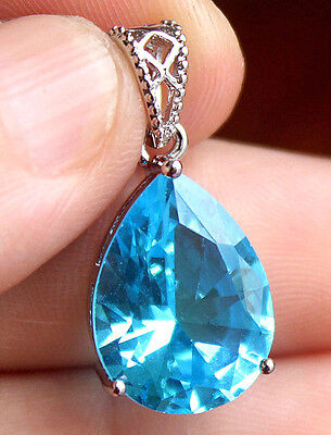 18K White Gold Filled - 12*16mm Waterdrop Blue Topaz Zircon Gemstone Big Pendant