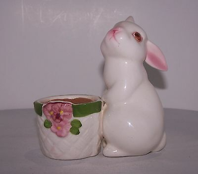 Vintage Avon 1980 Bunny Bright Candle Ceramic Rabbit Not Used Floral Figurine