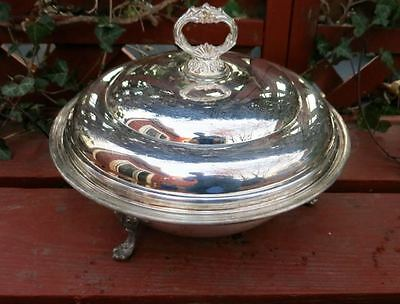 Vintage Silver-plated Covered Serving Bowl Dish with 2 Quart Pyrex Liner Lid
