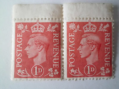 George VI English unfranked 1d postage stamps