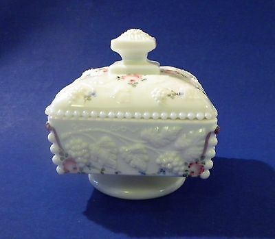 WESTMORELAND Vtg White Milk Glass Footed Candy Dish Grape Bead Design Hand Paint