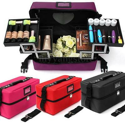 Travel Jewelry Box Makeup Train Case Cosmetic Organizer Pockets Artist Cloth Bag