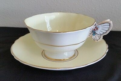 Vintage Paragon Yellow Floral Butterfly Handle Cup and Saucer