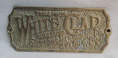 Original Hardware Brass Mfg Tag From White Clad Antique Ice Box Or Cabinet