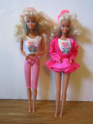 Lot of 2 Cool Times Barbie Dolls w/ Original Outfits - 1988