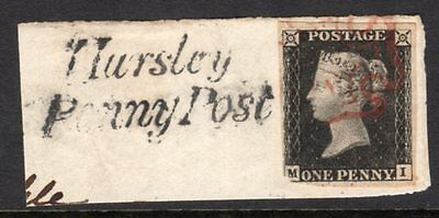 HURSLEY PENNY POST 1d Black With 4 Margins & Red MX(405)