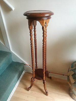 Solid Mahogany Plant Stand With Barley Twist Supports
