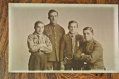 Postcard WW1 two BOY SCOUTS and two soldiers KRR and another