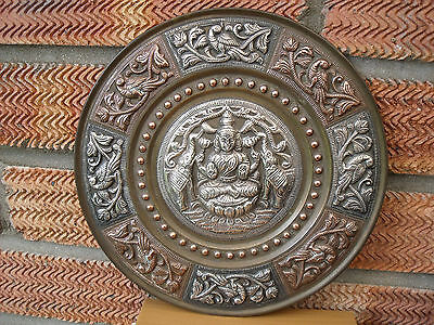 Antique Indian Copper & Silver Plaque or Plate with Elephants & Birds 1900 +