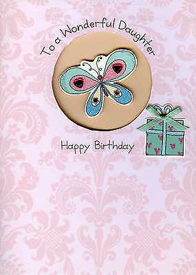 Daughter Embellished Birthday Greeting Card Second Nature Hand Finished Cards
