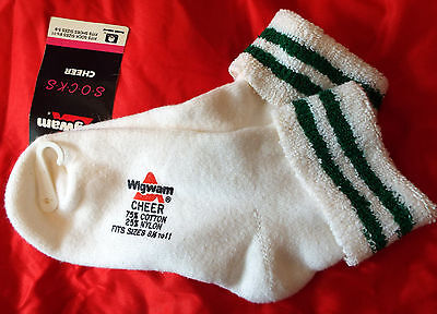 Comfy Terry-Lined Vintage-New Wigwam Cheer Cheerleader Ankle Socks Green Stripes