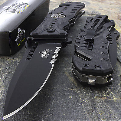 "8"" MASTER USA SKULL SPRING ASSISTED TACTICAL FOLDING POCKET KNIFE Open Assist"