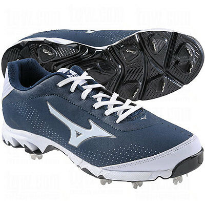huge discount a78ad 1a2c2 Mizuno 9 Spike Vapor Elite 7 Low Metal Baseball Cleats NEW Navy White