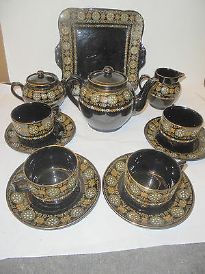 27720 Gibson & Sons Ltd Black China Greek Border teaservice Teeservice victorian