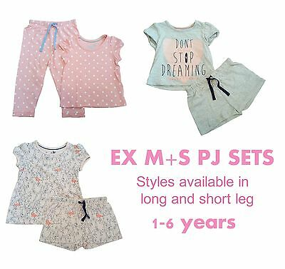 EX M+S Girls Baby PJs Pyjamas Pajamas Set Short Sleeves Shorts Summer 12m-6y