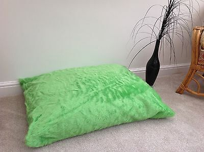 Adults / Child Floor Cushion Filled Lime Faux Fur Large 3ft Size Luxurious New