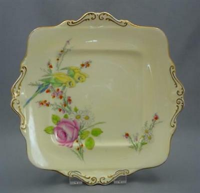 Hand Painted c1930 PRINCESS MARGARET ROSE Pink Paragon Bone China CAKE PLATE