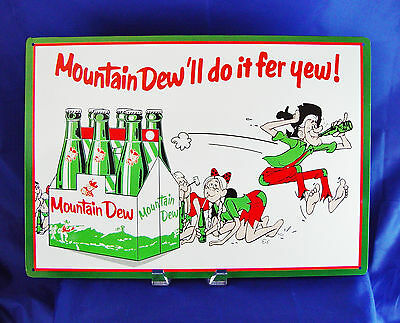 Mountain Dew Do it Fer Yew Six Pack Vintage Style Diner Bottle Metal Tin Sign