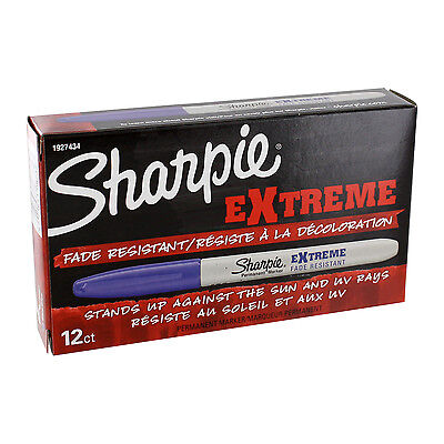 Sharpie Extreme Permanent Marker, Fine Point, Blue Ink, Pack of 12