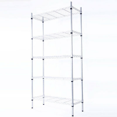 5-Tier Steel Wire Metal Shelving Adjustable Steel Heavy Duty Storage Unit Shelf