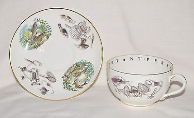 ROYAL WORCESTER JUMBO Cup & Saucer FLY FISHING SALMON To a Very Important Person