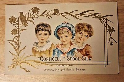 c1880s Corticelli Spool Silk Thread Victorian Trade Card HB Sykes Co ELKHART IN