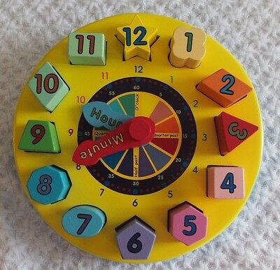 Melissa & Doug Shape Sorting Clock Wooden Puzzle tell time numbers educational