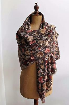 Vintage 1980's Floral Printed Cotton Liberty of London Square Shawl
