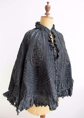 Antique Victorian Heavily Jet  Beaded & Braid Mourning Cape - c1880's