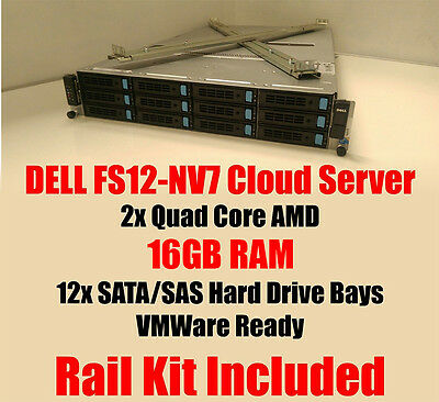 Dell FS12-NV7 2x Quad Core 2.1Ghz 16GB RAM Cloud Server VMWare Rack Kit +Caddies
