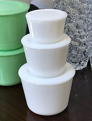 McKee Opal White Milk Glass 3 Piece Stacking Canister Jar Set 40 20 & 10 Ounce