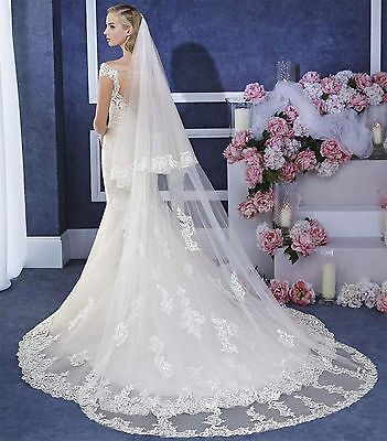 Ivory Cathedral Long Wedding Veils 2T Appliques With Comb Bridal Lace Cover Face