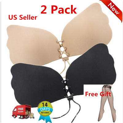 2xSilicone Push-Up Strapless Backless Self-Adhesive Magic Stick Invisible Bra