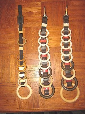 3 Vintage Western Saddle Tack Clip Strap Rings Horse Leather Headstall Harness