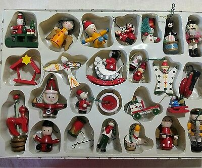 Vintage lot wood painted Christmas ornaments santa angel nutcracker soldier  +++