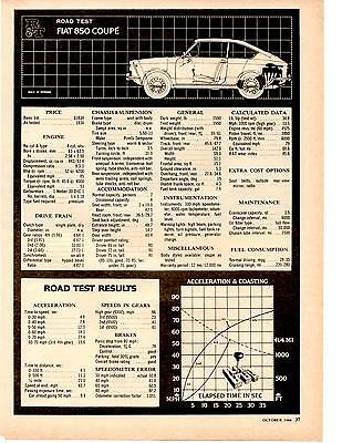 1966 Fiat 850 Coupe  ~  Nice 3-Page Original Road Test / Article / Ad