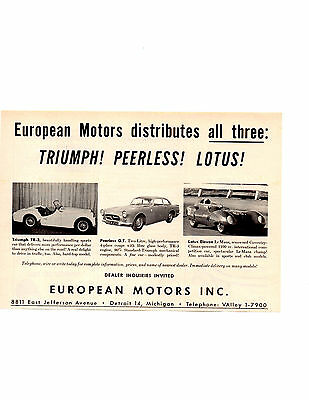 1959 Tr-3 - Peerless - Lotus Eleven ~ Original Smaller European Motors Ad
