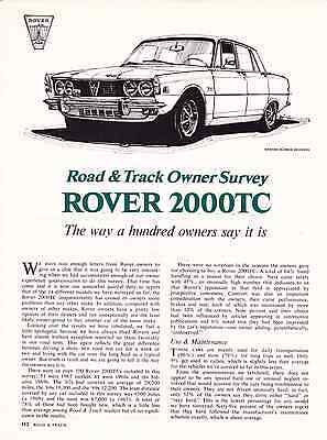 1970 Rover 2000-Tc  ~  Nice Original 3-Page Owners Survey Article / Ad