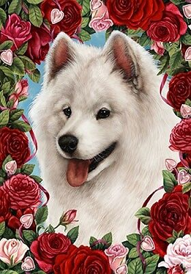 Large Indoor/Outdoor Roses Flag - Samoyed 19077