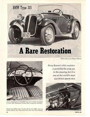 1934 Bmw Type 315 Roadster ~ Original 2-Page 1961 Article / Ad