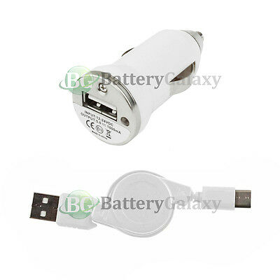 USB Type C Retract Cable+Car Charger for Phone Motorola Moto Z Force/Play Droid