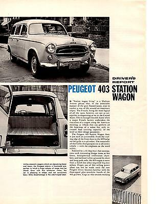 1959 Peugeot 403 Station Wagon  ~  Original 3-Page Drivers Report Article / Ad