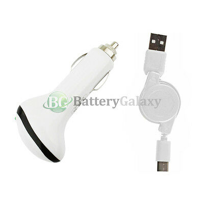 USB Type C Retract Cable+FAST Car Charger for Motorola Moto Z/Z Force/Play Droid