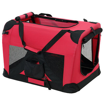 PRO.TEC® Hundetransportbox XL ROT Faltbar Transportbox Hunde Box Trage Tasche